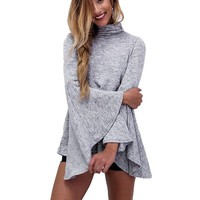 Autumn Casual Camisas Femininas Women Blouse Office Knitted Turtleneck Tops Shirt Blusa Ladies Long Flare Sleeve Top