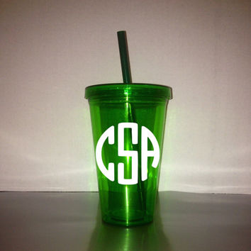 Monogrammed 17.5 oz / 18 oz Tumblers - Color Tumbler - With Matching Lid & Straw -  Green Tumbler - BPA free - Many monogram color choices!