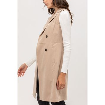 Womens Double Breasted Waterfall Collar Longline Trench Vest