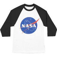 NASA Men's  Logo Baseball Jersey Black/White Rockabilia