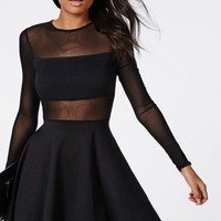 Missguided - Mesh Insert Long Sleeve Skater Dress Black