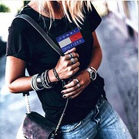 Women Fashion Emboider Tommy Hilfager Monogram Show Thin T-Shirt Top Tee Black