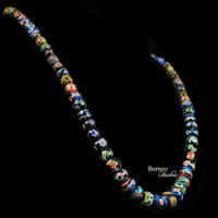 """Glass Bead Necklace From Borneo.NEW BEADS.Traditional Tribal Dayak Currency Trade Bead Designs Bohemian Patterned Dark Beads 13.5""""L/3oz"""