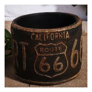 America Vintage 66 Route Car Plate Ashtray Succulent Pot     rust