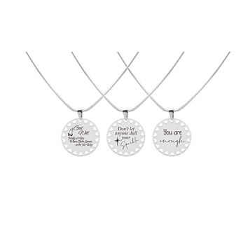 Inspirational Disc Necklace with Hearts Cutout By Pink Box