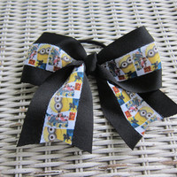 Despicable Me Minion  hair bow, cheer bow, ponytail bow, ponytail holder