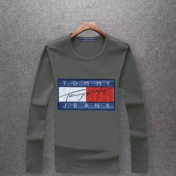 TOMMY  Round collar long sleeved T - shirt