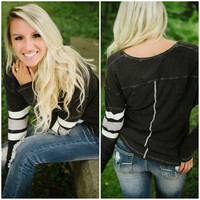 Free People Game Time Henley (Black Combo) - Piace Boutique