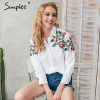 Embroidery white blouse shirt women Casual long sleeve summer blouses tops 2017 streetwear blusas
