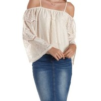 Ivory Cold Shoulder Lace Top by Charlotte Russe