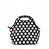 BUILT NY Gourmet Getaway Neoprene Lunch Tote Lunch, Big Dot Black & White