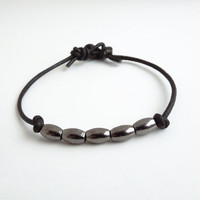 Men's bracelet - Mens leather bracelet - Gunmetal-color pewter beads on leather - Gift for him - Fathers Day gift (Ready to ship)