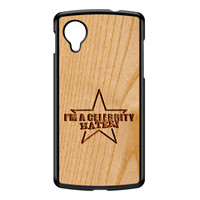 Carved on Wood Effect_Celebrity Hater Black Hard Plastic Case for Google Nexus 5 by Chargrilled