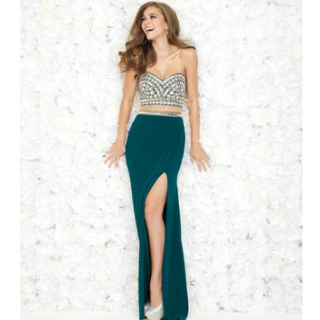 Pine Green Beaded Bodice Illusion Two Piece