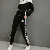 """Adidas"" Women Casual Multicolor Stripe Letter Long Sleeve Zip Cardigan Hoodie Trousers Set Two-Piece Sportswear"
