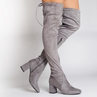 Bethany Block Heel Over The Knee Boots In Light Grey Faux Suede