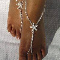Bridal Jewelry Barefoot Sandals Wedding Foot Jewelry Anklet Rhinestone Barefoot Sandles Beach Wedding
