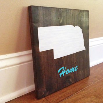 Customizable Nebraska Wood Sign, Stained and Hand Painted, Personalize, Home decor