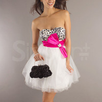 Lovely A-line Sweetheart Neckline Bowknot Mini Tulle Graduation Dress from SinoAnt