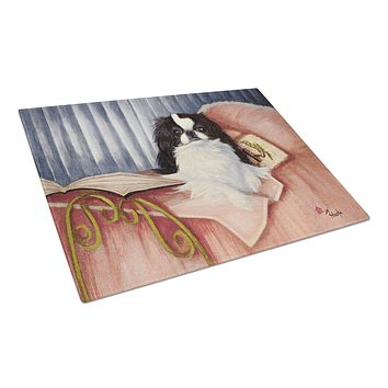 Japanese Chin Reading in Bed Glass Cutting Board Large MH1058LCB