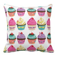 Tasty Strawberry Cupcake Pattern Pillow