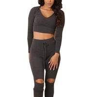 Two Piece Outfits Fitness Crop Top V Neck Sexy Jumpsuit Track Suit Knee Hole Bodycon Bandage Bodysuit Summer 2016 Fashion New
