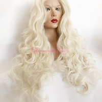 """Platinum Blonde SWISS Curly Lace Front Wig 32"""""""