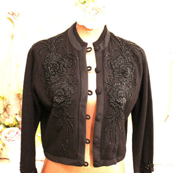 1950's Beaded Sweater - Black Cashmere Cardigan - Retro Sweaters - Hollywood Retro Clothes - Cashmere Sweaters - Glam Top | Womens size M  L