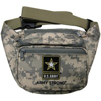 US Army Military Branch Logo Emblem Fanny Waist Pack Camo Print Bag