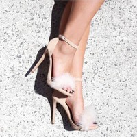 Feather Black Peep Toe Stiletto