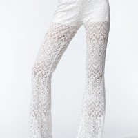 Kendall & Kylie High Rise Lace Bell Bottom Pants - Womens Pants - White