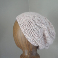 Mongolian Cashmere Slouchy Hat, Slouch Beanie, Pale Pink Cream, Womens Knit Hat, Thick Chunky Hat, Stylish Fashion