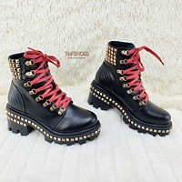 CR Nina Studded Lace Up Platform Combat Punk Ankle Boots