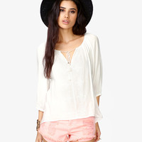 Embroidered Lantern Sleeve Top