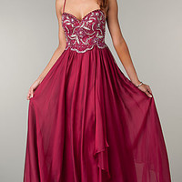 Long Beaded Lace Up Gown by Dave and Johnny