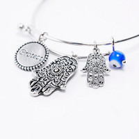 Hamsa Charm Bangle in Silver - Urban Outfitters