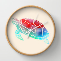 Watercolor Turtle Wall Clock by Jacqueline Maldonado