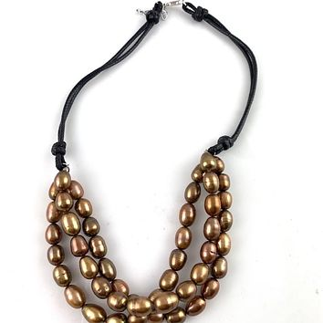 Pearls of Wisdom Bronze Leather Necklace