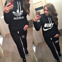 Tagre™ Nike Casual Hoodie Top Sweater Pants Trousers Set Adidas Two-piece Sportswear