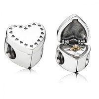 PANDORA Gift_from_the_Heart Charm, Silver, Gold Ring, Jewelry Box, Pink CZ, 791247CZ - Pandora Mall of America, MN