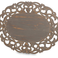 Oval Wooden Cutout Place Mat, Gray, Placemats