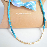 Gold Cube Necklace Turquoise And Gold Jewelry Boho Necklace Turquoise Necklace Gold Necklace Teal Necklace Blue Necklace Blue Beaded Jewelry