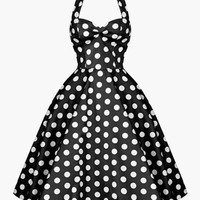 Polka Dot Halter Skater Dress