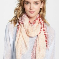 Women's Eileen Fisher Embroidered Print Modal & Linen Scarf