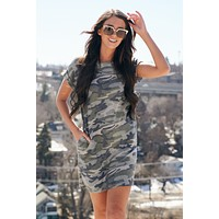 Fightin' For Love Camo T-Shirt Dress (Olive)