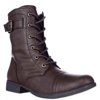 A.R. Faylln Lace Up Combat Boots - Brown