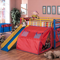 Wildon Home ® Twin Loft Bed with Slide and Tent