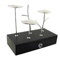 Lotus Pond Metal Jewelry Stand and Wood Box - Inspired by Nature Black