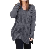 Gray Oversized Cozy up Knit Sweater