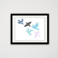 """Birds Flying. Nursery. Baby boy. Baby Girl. Animals. Fly. Blue and Pink. Home Decor. Kids Bedroom. 8.5x11"""" Print"""